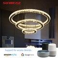 AI FÜHRTE Kristall Kronleuchter WiFi Sound Control Smart Licht Für wohnzimmer Schlafzimmer Küche Lampe Nordic Kronleuchter Decken Leuchte