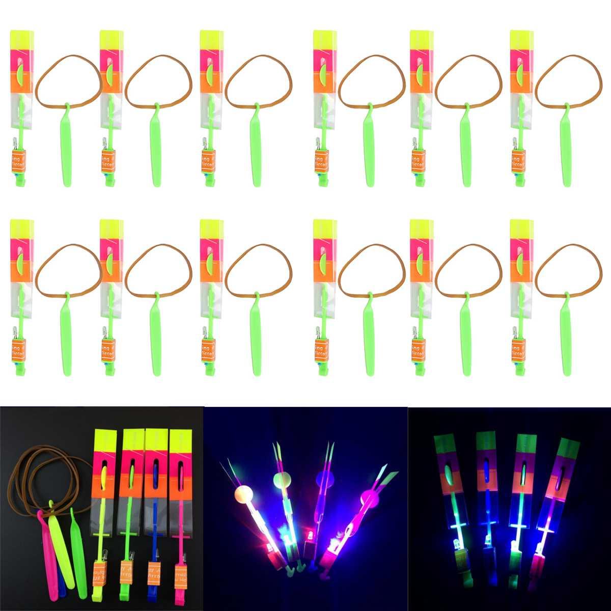 12 шт./компл., детская игрушка, LED Flier Flyer, LED вращающийся, удивительный светильник, стрелка, самолет, вертолет, летающий зонт, детские игрушки