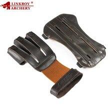 1pc tiro com arco 3 dedo luvas braço guarda 19cm 100% couro boi puro luvas de proteção caça tiro acessórios