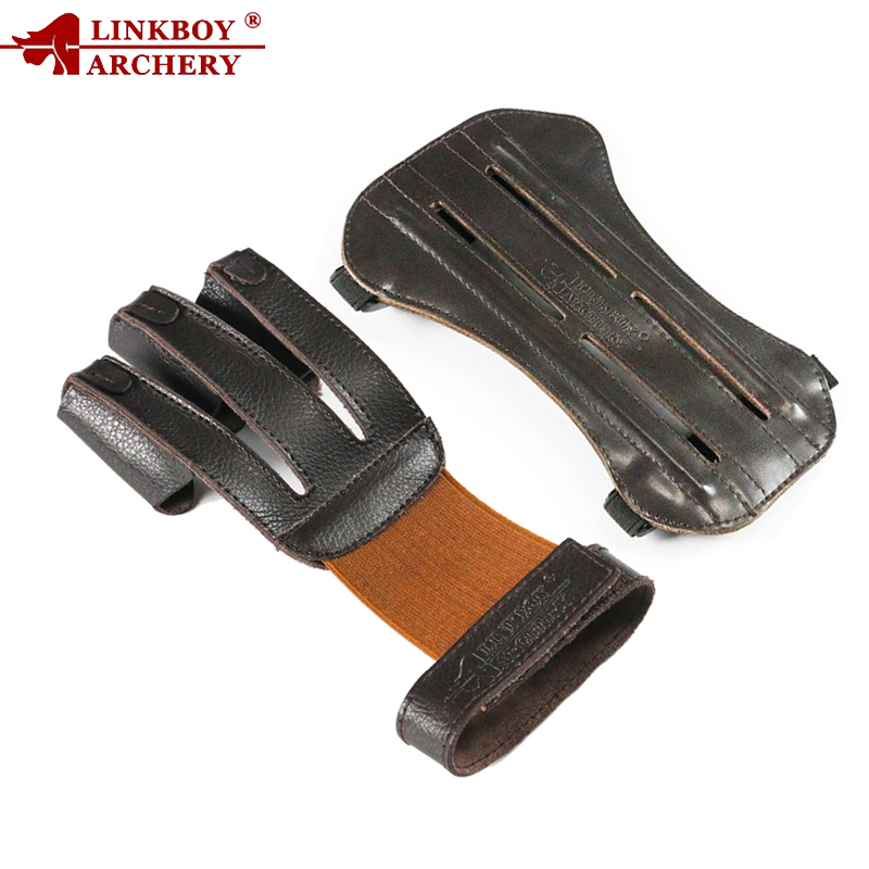 1pc Linkboy Archery 3 Finger Gloves Arm Guard 19CM 100% Pure Ox Leather Protection Archery Protective Gloves Hunting Shooting