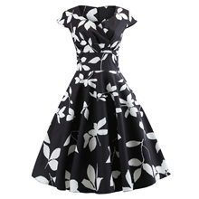 3129 Photo Shoot Wish Amazon Hot Selling Retro Hepburn Wind 50SV Collar Short Sleeved Expandable Printed Dress(China)