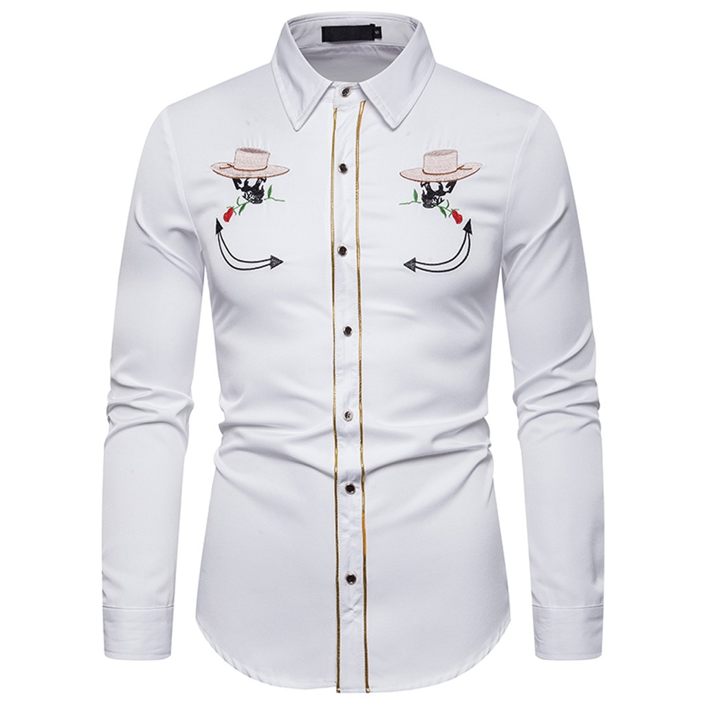 YYear Mens Embroidery Long Sleeve Lapel Regular Fit Fashion Button Down Shirts