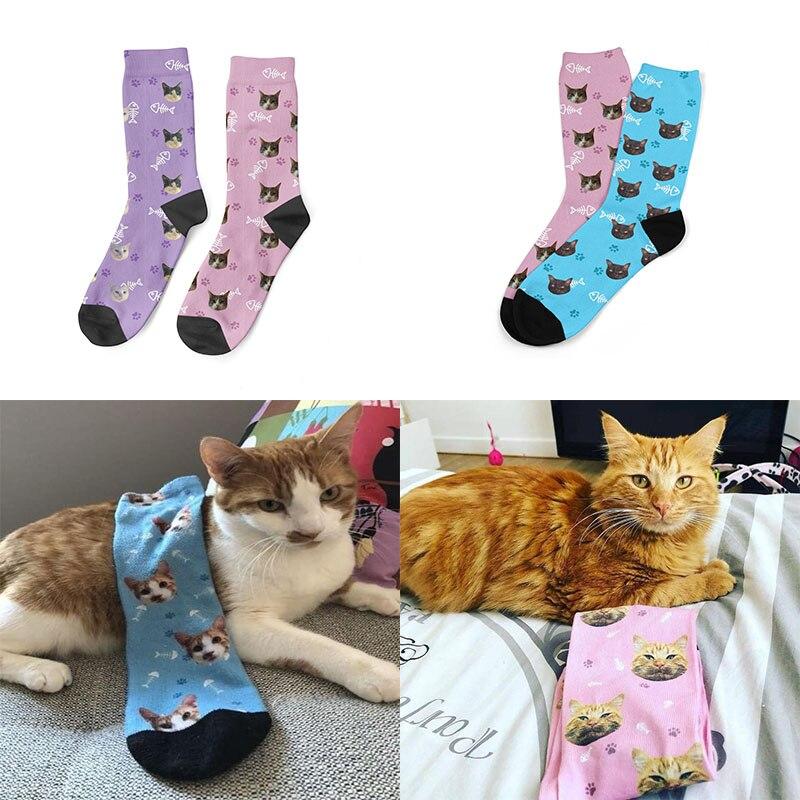 Custom Socks Cat 3D Print Men/Women Socks Casual Funny Novelty DIY Personalized Photo Logo Pet Long Socks Gifts