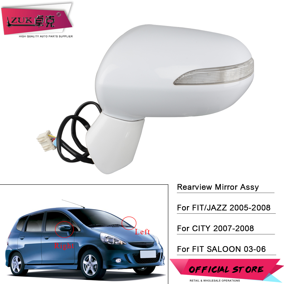 ZUK Outer Rearview Mirror Exterior Rear View Mirror For HONDA FIT JAZZ CITY 2003 2008 5 PINS Electric Angle Adjust + LED Lamp Mirror & Covers    - AliExpress