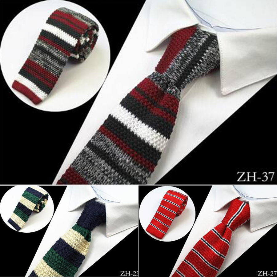 Ricnais Brand New Design Fashion Knit Tie For Men Slim Knitted Neck Ties Cravate Narrow Skinny Neckties For Men Wedding Party