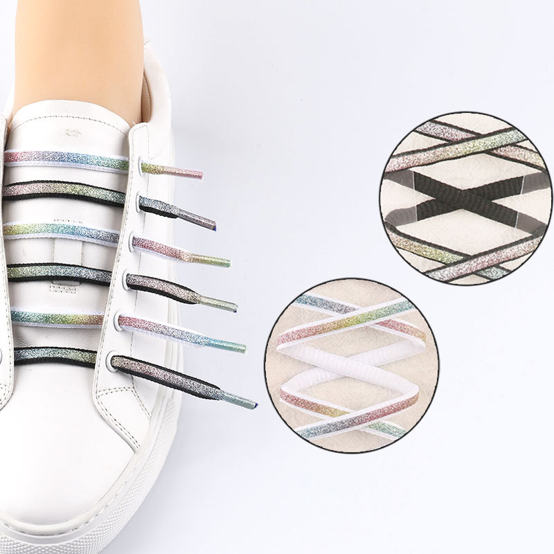 Gradient Colorful Reflective Shoelaces For Unisex Sneakers Fashion Black/Whte Shining Shoelaces For Sports Shoes Accessories