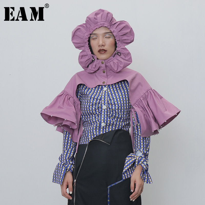[EAM] Women Ruffles Split Joint Pleated Nailed Purple Pashmina New Long  Personality   Fashion Tide Autumn Winter 2020 1H265