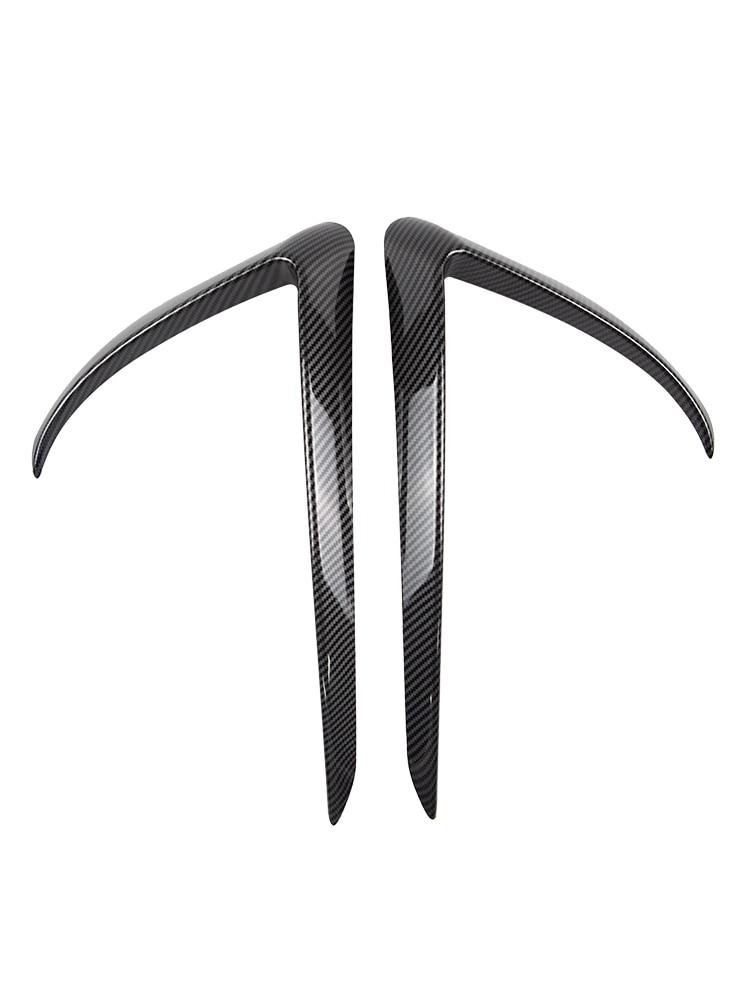 Heenvn Trim Car-Accessories Tesla Model Model3-Model Carbon-Fiber Black for White Front-Blade