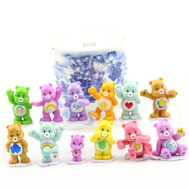 12 Pcs/set Cute Care Bear Rainbow Bear Cartoon Mini Toys PVC Action Figure Colorful Bears Collection Model Dolls Sets Kid Gifts