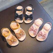 New Summer Girls Sandals Bowknot Soft Bottom Large, Middle and Small Children Princess Open Toe Baby Beach Children's Shoes