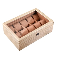 Luxury 10 Solt Old Elm Pure Solid Wood Skylight with Glass Watch Box Mechanical Watch Display Jewelry Storage Box