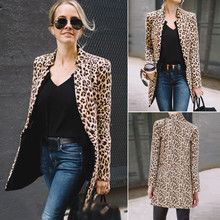 2019 Spring Autumn Fashion Women's Leopard Jacket Sweater Top Warm Casual Suit L