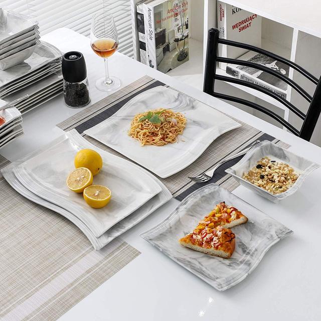 MALACASA FLORA 26-Piece Nordic European Style Marble Porcelain Dinnerware Set with Bowl,Dinner Plate,Dessert&Soup Plate Set Gift 2