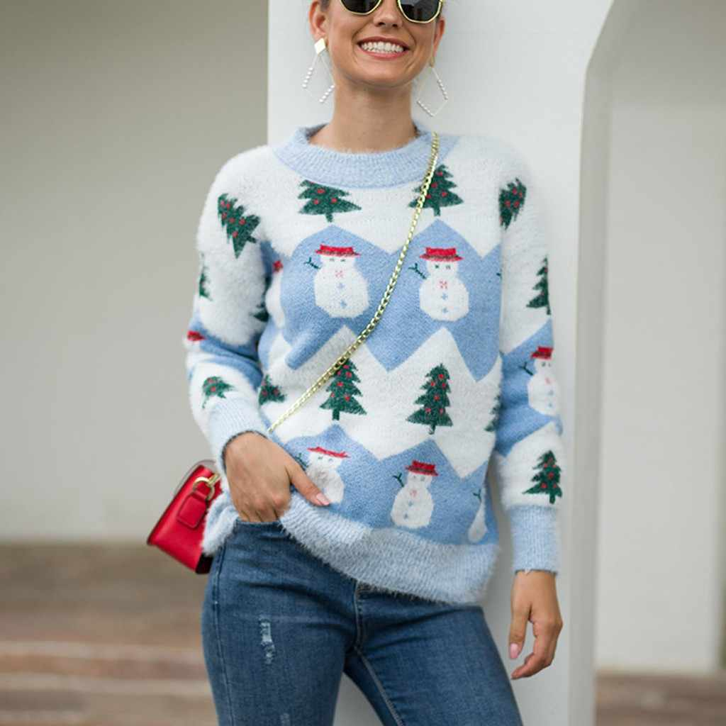 Women Christmas Sweater Pullover Long Sleeve O-Neck Christmas Tree snowmen knitting Sweater Tops winter outwear Dropshipping