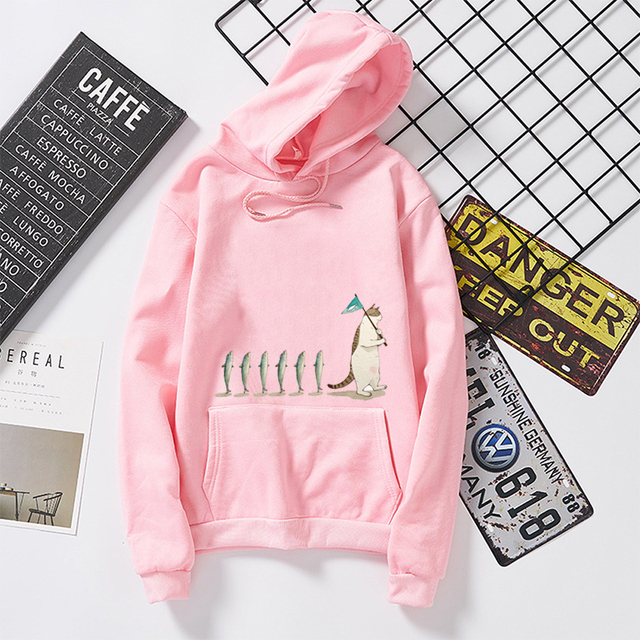 Kawaii Cat Fish Hoodie Funny Graphic Print Sweatshirt Men/Women Harajuku Fashion Sweat Long Sleeve Clothes Feminine Pullovers