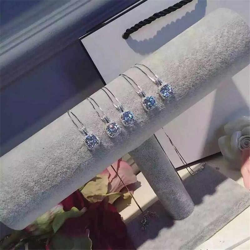 Oświadczenie wisiorek damski prawdziwe 925 srebro bijou AAAAA cz wesele wisiorki z naszyjnik dla kobiet biżuteria dla nowożeńców