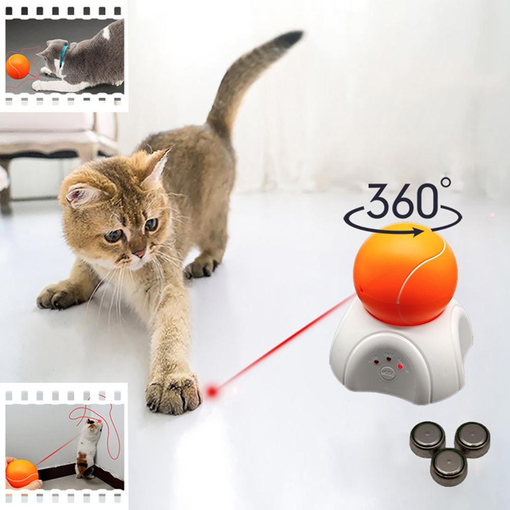 Pet Cats Kitten Funny LED Lasering Tennis Ball Automatic 360 Degree Rotating Exercise Toy Interactive Kitty Pat Cats Supplies