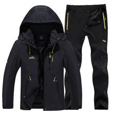 الشتاء رياضية الرجال معطف للرياضة و سراويل للتسلق الصوف بطانة الحرارية تزلج دعوى في الهواء الطلق تسلق الجبال يندبروف معطف مقاوم للماء