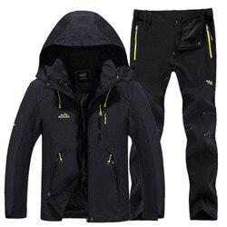 Winter Tracksuit men Hiking jacket & Hiking Pants Fleece liner Thermal Ski suit Outdoor Mountaineering Windproof Waterproof coat