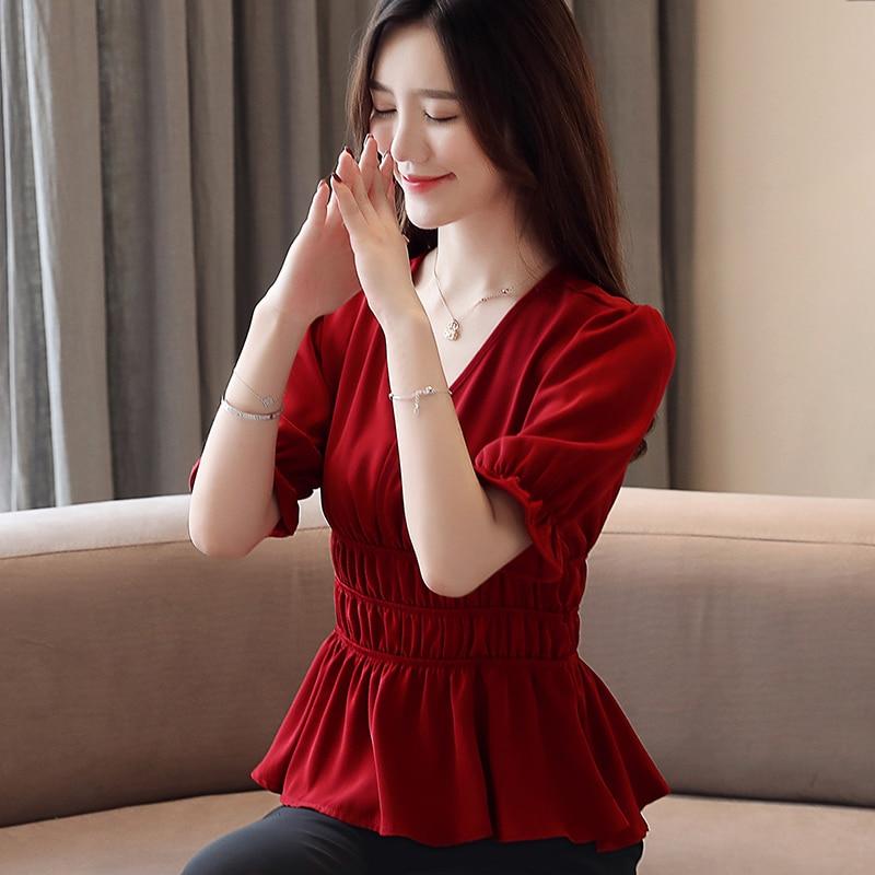 Korean Chiffon Blouses Women Solid V Neck Shirt Tops Plus Size Blusas Mujer De Moda 2020 Blusas Femininas Elegante Women Blouses