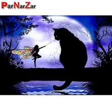 ParNarZar Diamond Painting Elf and Black Cat Full Drill Kits Pasted Embroidery Cross Stitch Arts Craft for Home Decor