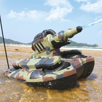 Ejército anfibio tanques de juguete RC electrónicas de Control remoto del vehículo para niños regalos BB suave aire bala de pulverización de agua disparar objetivo
