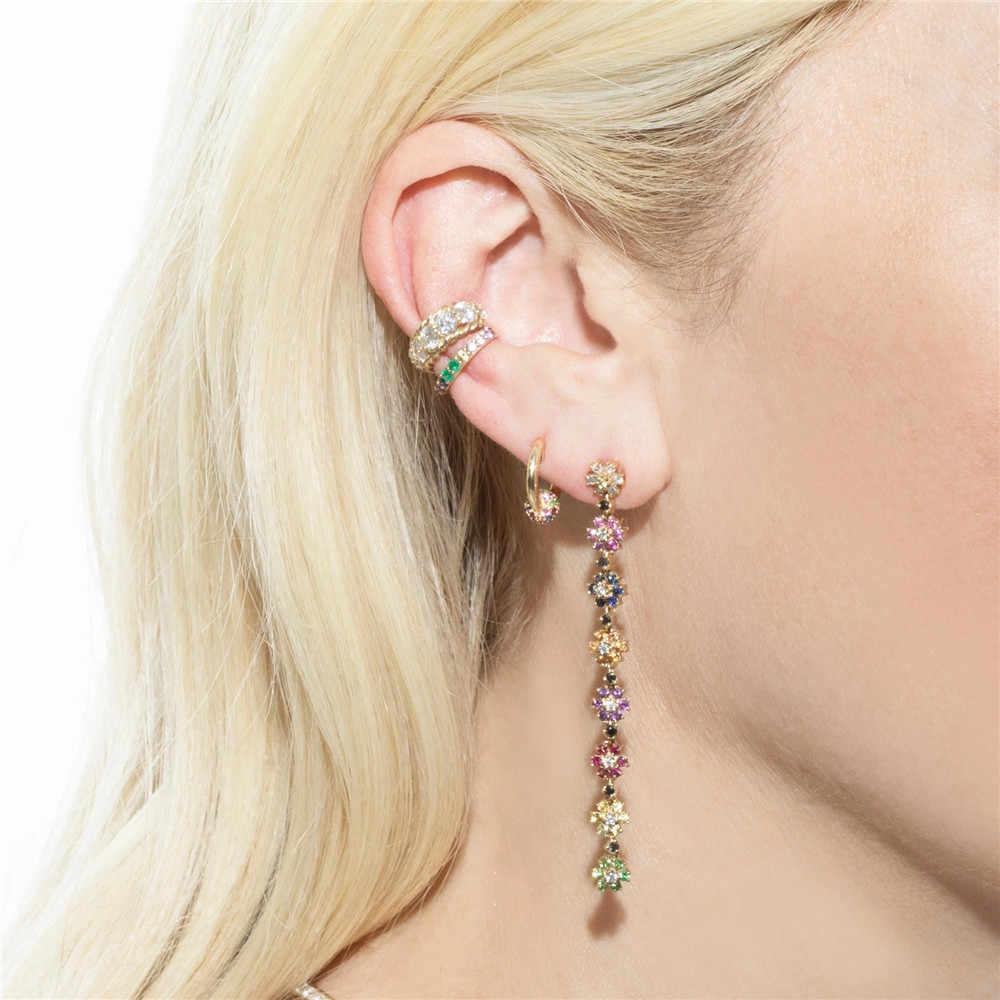 Altruist 925 Sterling Silver Sphere 8 Mm Huggie Ring Crystal CZ Lingkaran Loop Slim Wanita Klip Piercing Rainbow Anting-Anting Perhiasan