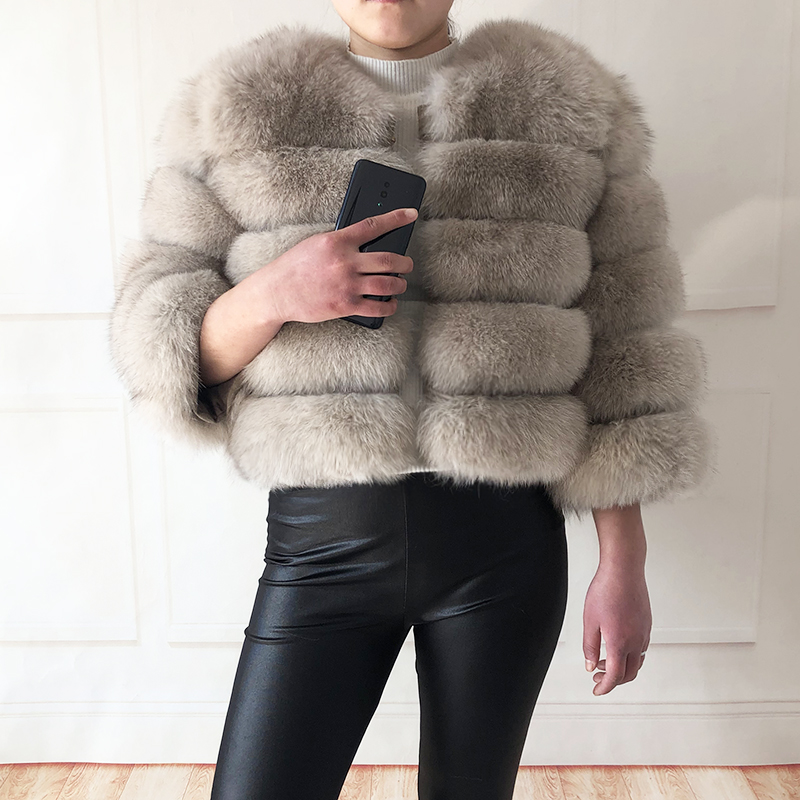 2019 new style real fur coat 100% natural fur jacket female winter warm leather fox fur coat high quality fur vest Free shipping 141
