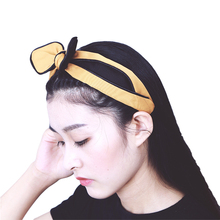Korean elegant lovely atmosphere bow knot knot hair hoop wide edge hair hoop stripe head hoop rabbit ears pressure hair black contrast stripe knot tee