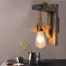 Lámpara de pared retro rústica E27 Luz de madera sólida para nostálgico pasillo decoración de pared bares y restaurantes