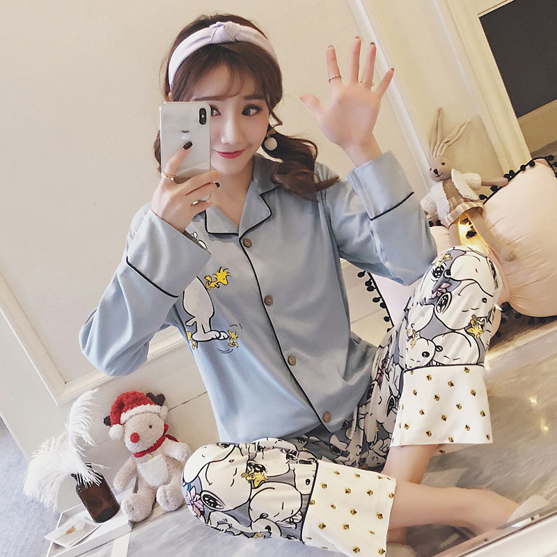 Autumn & Winter Cartoon New Style Pajamas Women's Snoopy Qmilch Long Sleeve Casual Tracksuit Cardigan Fan Ling Set