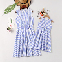 Family Clothes Mother & Daughter Matching Mom Fashion Lattice Dresses  Sleeveless Leisure Women and Girls Outfits
