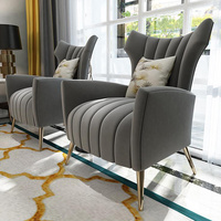Italy Luxury Design Salon Living Room Study Room Home Furniture Velvet Fabric Leisure Single Sofa Chair