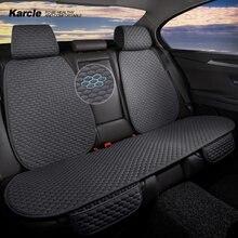 Karcle-Conjunto de fundas de asiento de coche, alfombrilla de lino de imitación, Protector de asiento delantero de automóvil trasero, antideslizante, accesorios para las cuatro estaciones