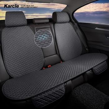 Karcle Imitation Linen Car Seat Covers Set Pad Mat Front Rear Car Seat Protector Non-slip Four Seasons Auto Accessories
