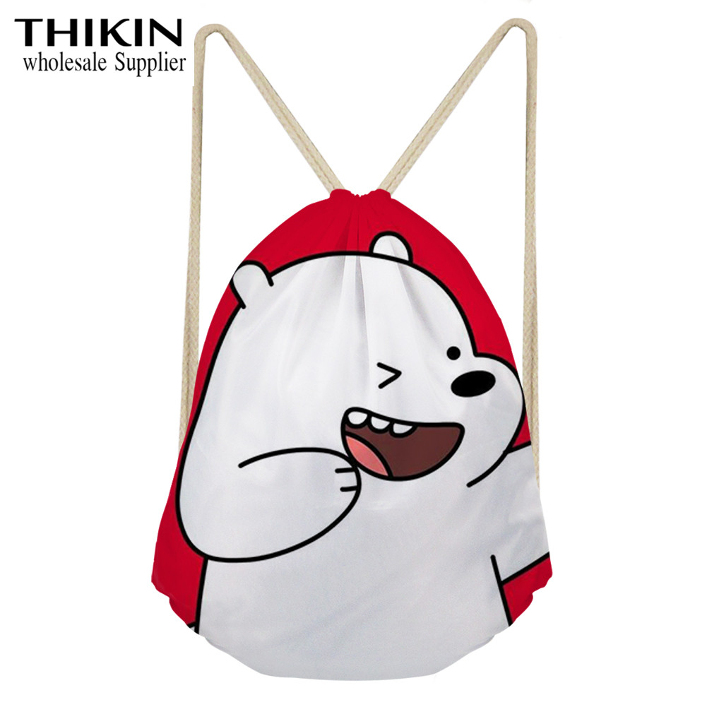 THIKIN Lovely We Bare Bears Women Drawstring Bag Cartoon Print School Girls Backpacks Cute Kids Shoulder Bag Female Carry On Bag