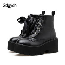 купить Gdgydh 2019 Autumn New Women Ankle Boots Round Toe Lace-up Platform Short Boots Female PU Soft Leather Black Boots Drop Shipping дешево