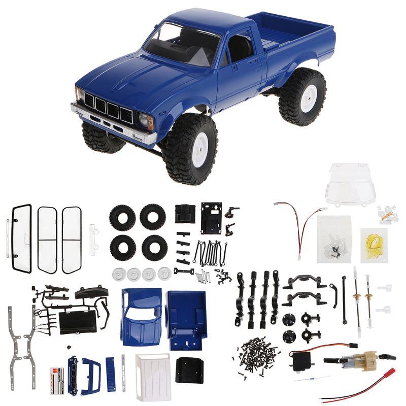 Wpl c24 2.4g diy rc carro kit 4wd controle remoto rastreador fora de estrada buggy movente máquina crianças brinquedos f3me