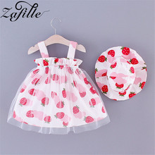 ZAFILLE Cute Summer Dress For Girl Sleeveless Baby Girl Clothes Fruit Printed Mesh Toddler Girls Dress With Hat Kids Clothes zafille summer dress for girl toddler sleeveless baby girl clothes solid kids clothes bow girls dress cute baby girl clothing
