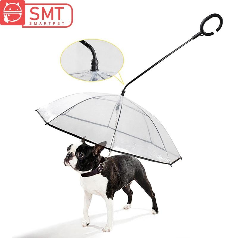 Smartpet Adjustable Portable Pet Dog Umbrella Transparent Cat Raincoat Dog Rain Gear with Pet Leads Rainy Snowing Outdoor Travel