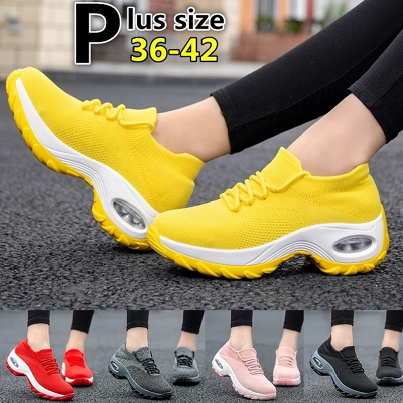 Women Fashion Wedge Sneakers Women Air Cushion Running Shoes Casual Shoes Breathable Mesh Sports Shoes Slip On Platform Sneakers