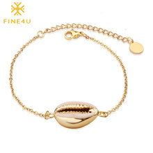 FINE4U B189 Bohemia Shell Charm Bracelet For Women Gold Color Stainless Steel Link Chain Bracelets Summer Beach Jewelry(China)