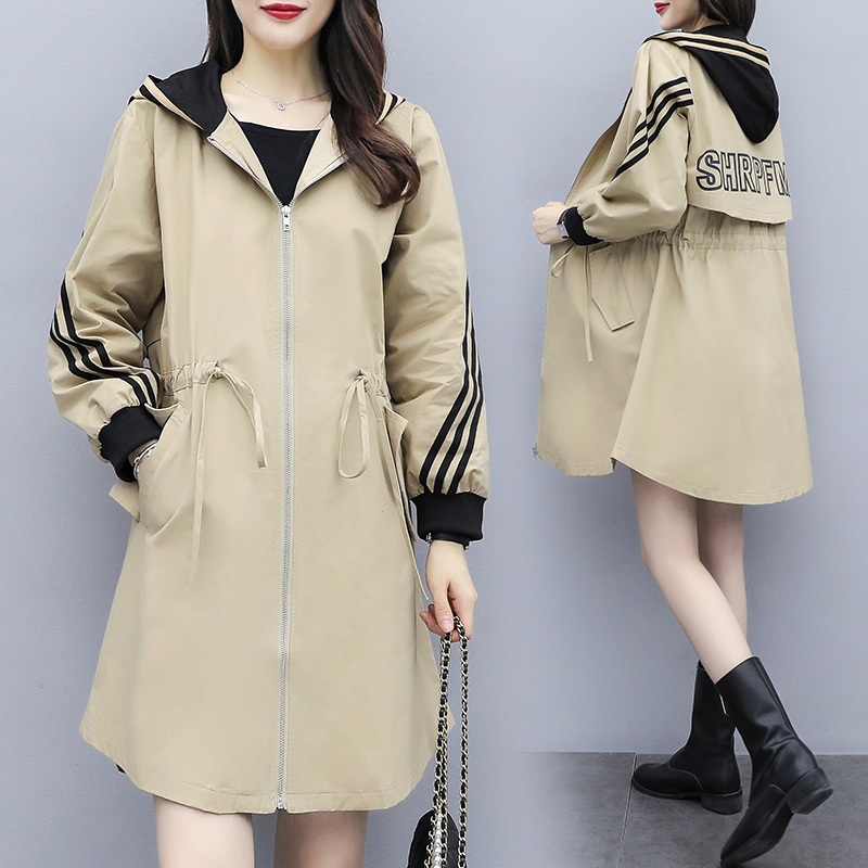 Fashion Hooded Windbreaker Coats Long section New Spring Autumn Coat Women   Trench   Coats Korean Loose Casual Ladies Outerwear