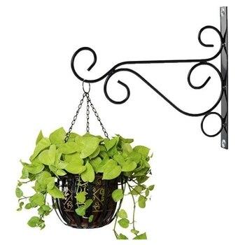 2pcs European Metal Plant Stand Wall-Mounted Hanging Basket Flower Pot Outdoor Furniture Garden Shelf Wrought Iron Hooks Holder