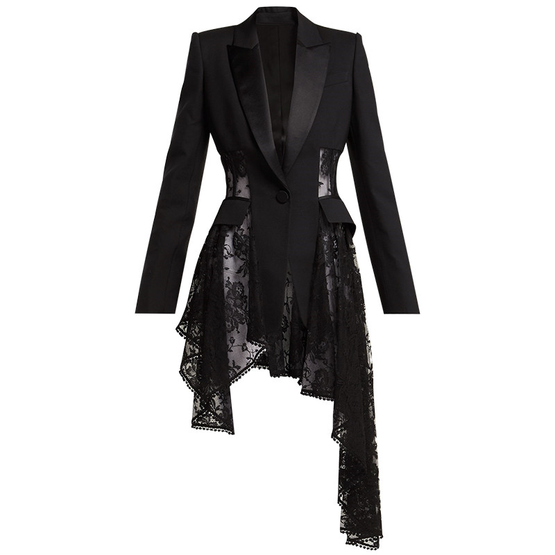 Sexy White/Black Lace Patchwork Irregular Blazer Feminino 2020 Notched Long Sleeve Slim Blazer Mujer