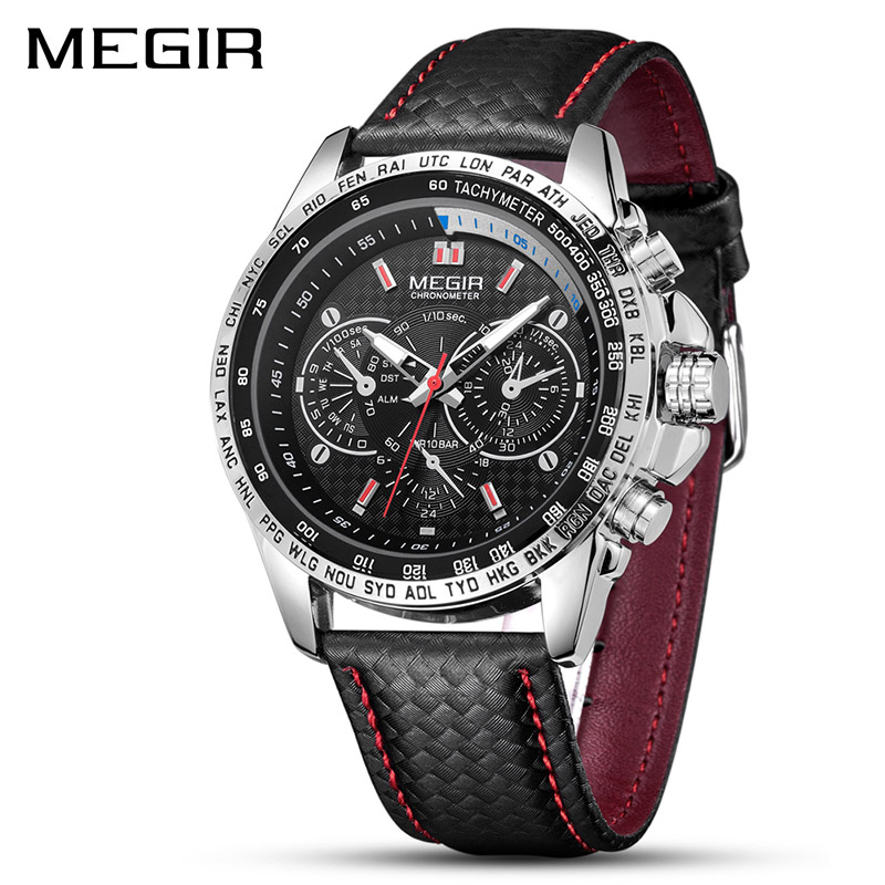 MEGIR Mens Watches Top Brand Luxury Quartz Watch Men Fashion Casual Black Leather Strap Clock Big Dial Sport Watch Erkek Saat
