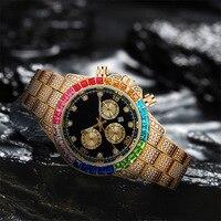 Heißer Verkauf Hip Hop Männer Diamant Iced Out Uhr Farbe Strass Shiny Luxus Mode Uhr Für Männer