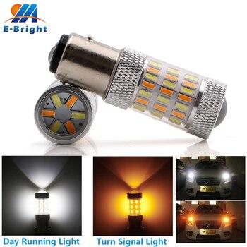 2 sztuk 1157 BAY15D podwójna funkcja żarówka światło kierunkowskazu Led biały bursztyn/żółty 4014 60 SMD DC12V hamulec samochodowy światło ostrzegawcze lampa samochodowa
