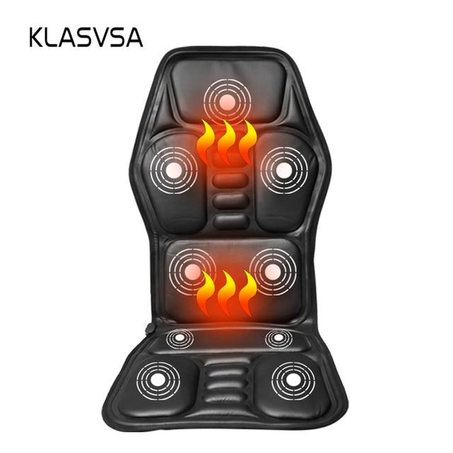 Klasvsa発熱ネックマッサージチェアバックシートトッパー車ホームオフィスマッサージ振動クッションバックネックリラクゼーション
