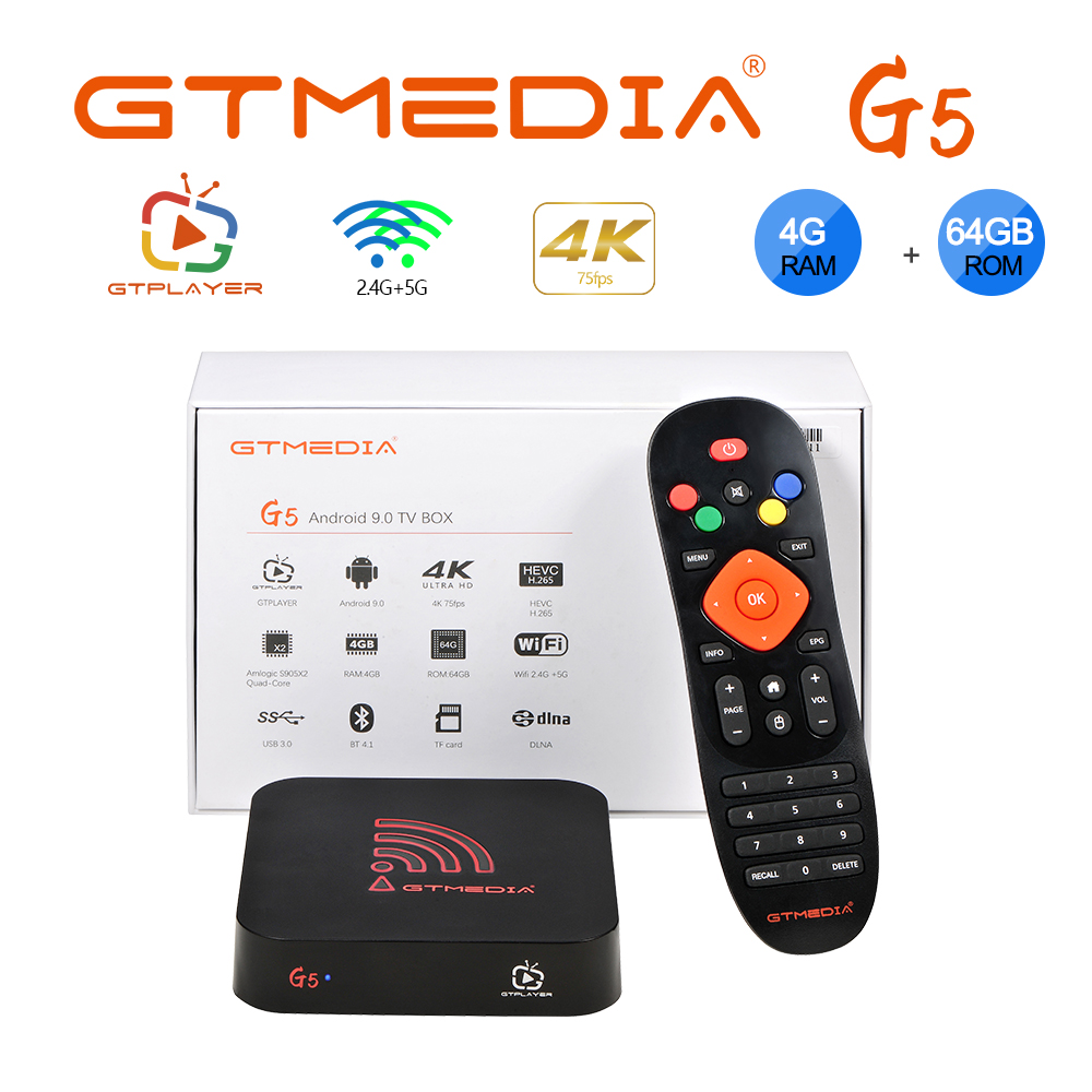 Original G5 Android 9.0 TV BOX Smart 4K Quad-Core 4G 64GB H.265 WiFi Media Player Netflix in HD Amlogic S905X2 Set top box PLAZA